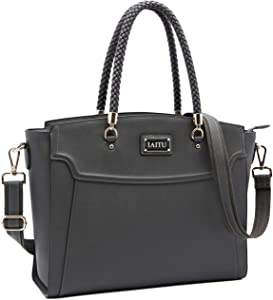 Laptop Bag for Women,15.6 Inches Computer Work Tote Bag with Strap Laptop Shoulder Bag Darkgray-N