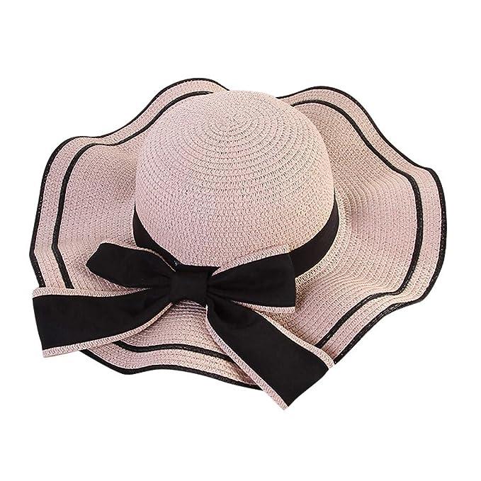 Amazon.com: Xillau Sombrero de paja de playa para mujer ...