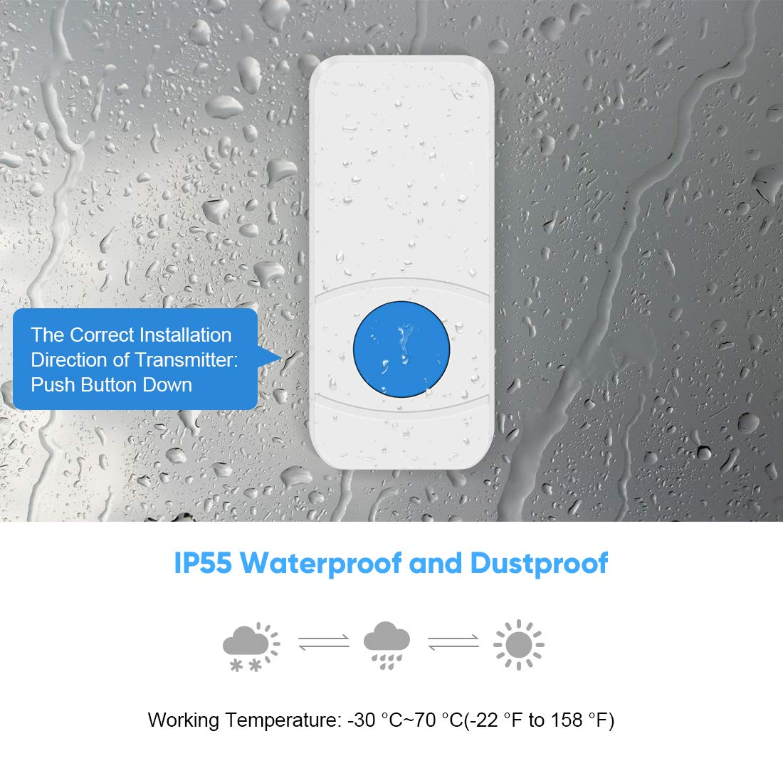 Wireless Doorbell Plug in 2 Receivers ,IP55 Waterproof Battery Door Chime Kit with 1000-Ft Range,55 Chimes,5-Level Volume & Blue LED Flash Light