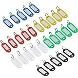Foxnovo 30Pcs Colorful Key Id Label Tags Split Ring Keyring Keychain (Random Color)