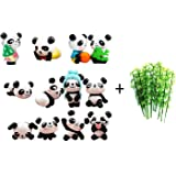 Lauren 32 Pack Panda Cake Toppers Little Panda Figures with Bamboo for Kids Birthday Party Decorations