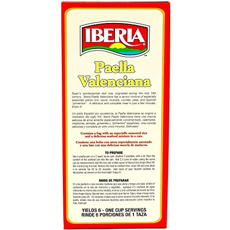 Amazon.com : Iberia Paella Valenciana, Ready to Cook Paella Kit with Yellow Rice and Seafood Packets, Product of Spain, 15.5 oz.