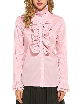 f6d829f6b06030 cooshional Damen Viktorianische Chiffon Bluse Rüschen Langarm Stehkragen  Vintage Hemd Tops Shirts