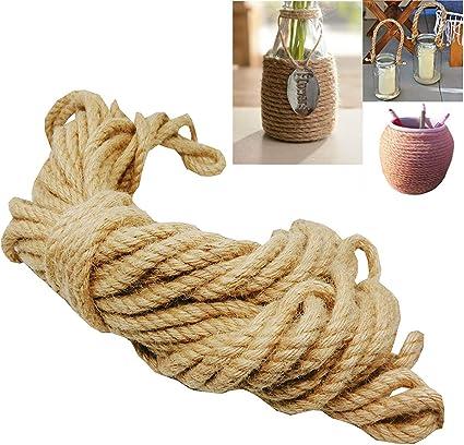 20M Cuerda de Cáñamo,Liuer 8mm cordel de yute natural vintage de cáñamo para bricolaje, artes, manualidades y decoración Jardín Boda Sash Camping ...