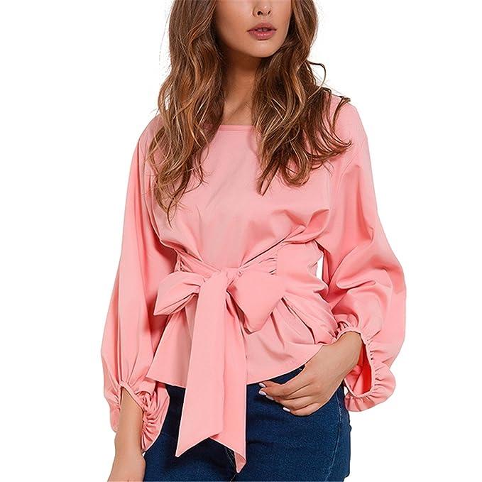 Amazon.com: xiaohuihuihui Chiffon Wrap Blouse Women Shirts Autumn 2018 Fashion Lantern Long Sleeve Blouses With Bow Belt Loose Casual Tops Womens Clothing ...