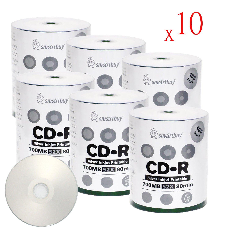 Smartbuy 6000-disc 700mb/80min 52x CD-R Silver Inkjet Hub Printable Blank Recordable Media Disc