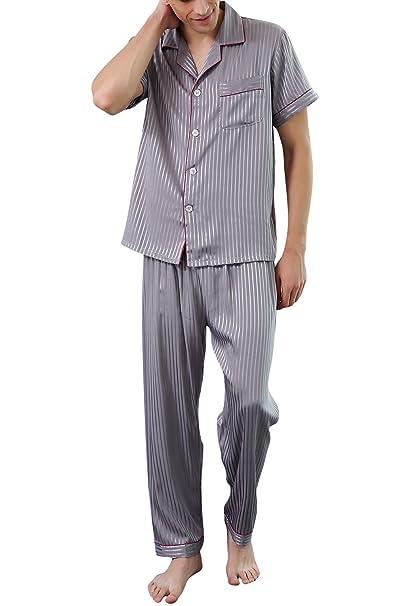 Dolamen Pijamas para Hombre Satén Largo, 2018 Hombre Parejas Primavera Verano Camisones Pijamas de Parejas