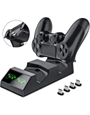 BEBONCOOL Doppia Stazione di Ricarica Controller PS4 Charger con 4 Micro USB PS4 Caricabatterie PS4 Joystick Caricatore Dualshock 4 Charging Station Docking per Playstation 4 / PS4 Slim / PS4 Pro