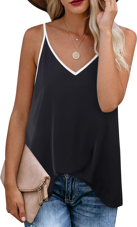 Timeson Women's V Neck Floral Tank Tops Casual Sleeveless Chiffon Blouse Shirts