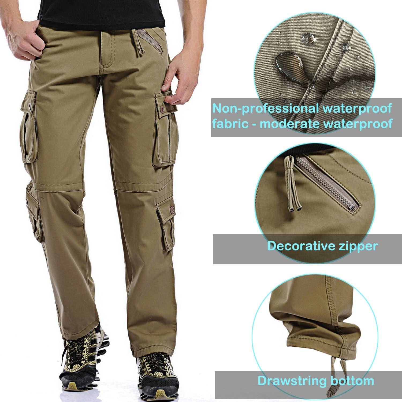 AIZESI Mens Polar Fleece Trousers Thicken Winter Lined Warm Pants Cargo Camo Combat Worm Pants