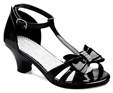 dee46ae5b306 OLIVIA K Girl s Glitter Leatherette Open Toe Strappy Ankle Strap Kitten  Heel Sandal (Toddler