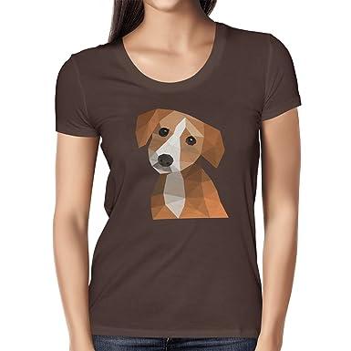 Texlab Polygon Hund - Damen T-Shirt, Größe S, Braun