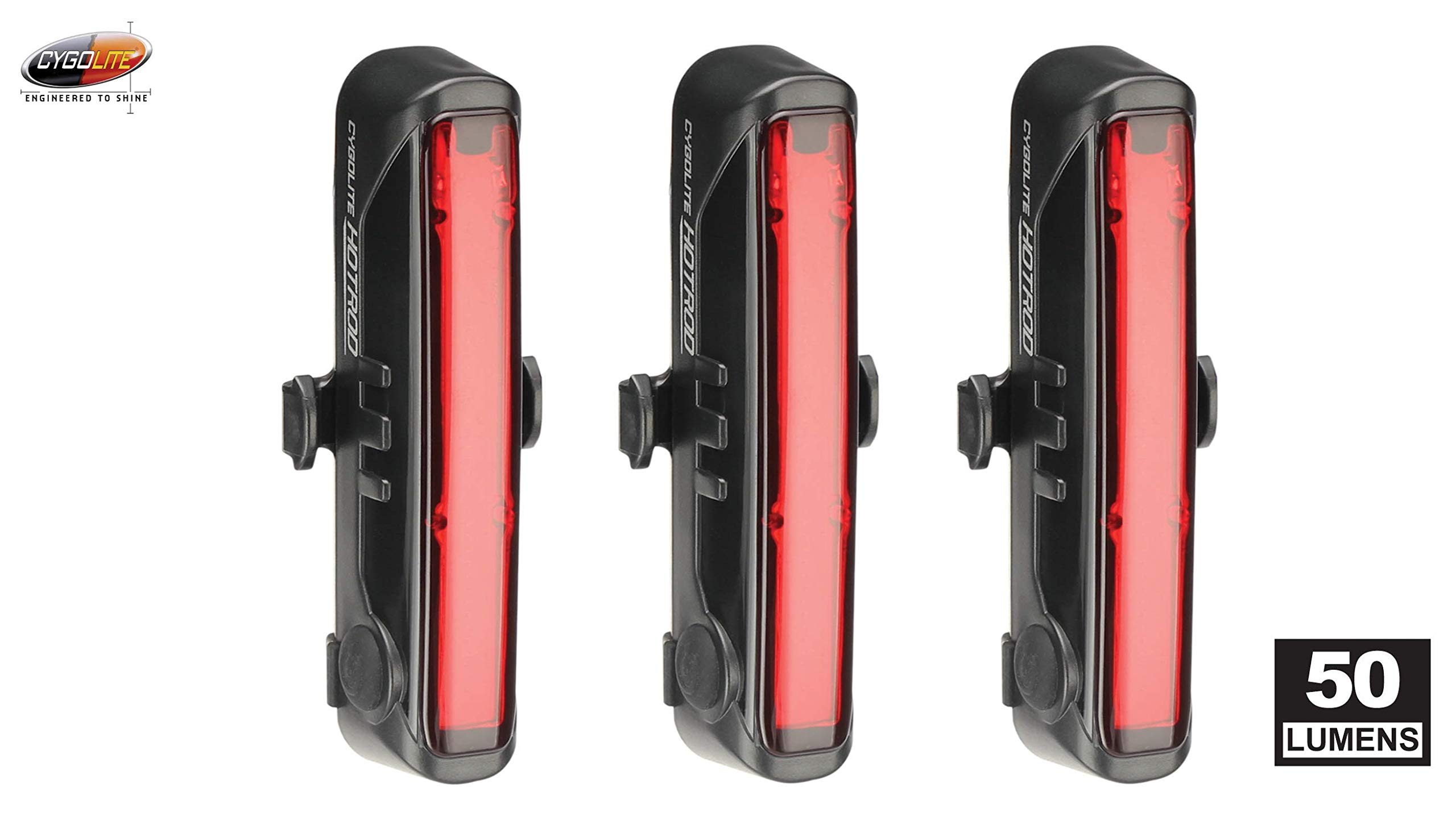Cygolite Hotrod 50 lm USB Rechargeable Bicycle Tail Light (Тhrее Pаck) by Cygolite