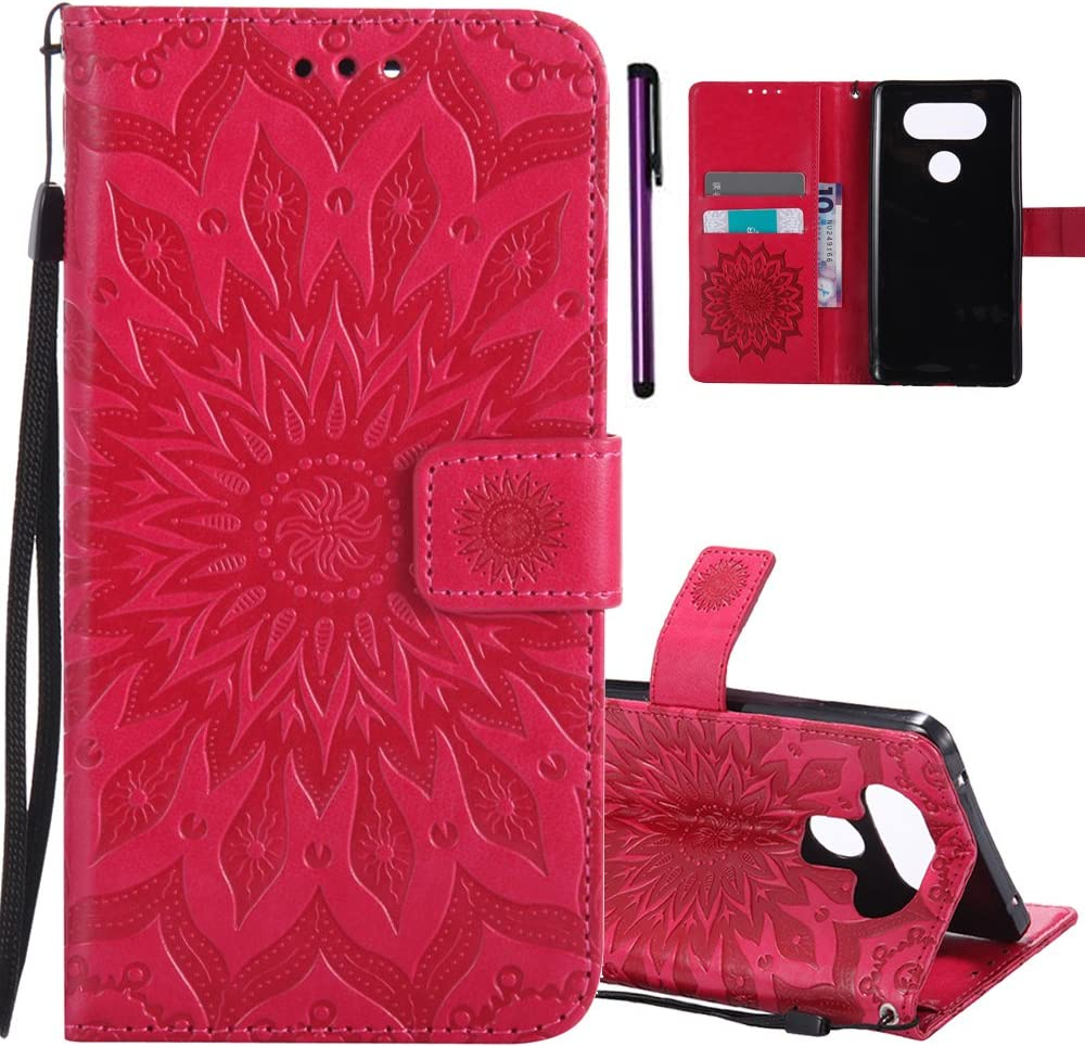 ISADENSER LG V20 Case Embossing Sunflower Series as Gift With Shockproof Kickstand and Credit Card Holder Flip Magnetic Closure Protection Wallet Leather PU Case Cover for LG V20 2016 Red Sunflower