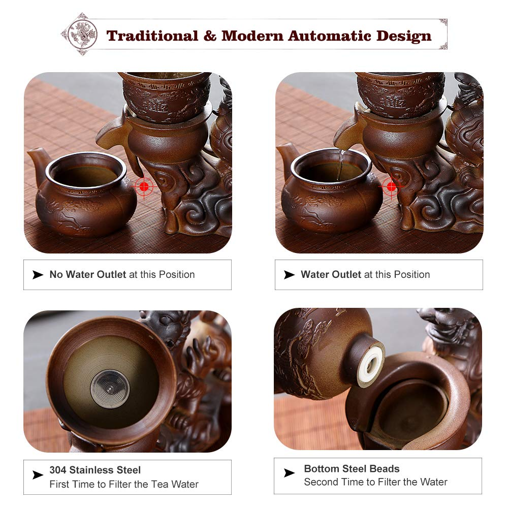 Chinese Hot Tea Service Set Handmade Automatic Kylin Design Firewood Crude Pottery Kongfu Teapot W/ 8 Teacup Clay Gift Set for Adults Parents Tea Lovers Business Friend Wedding Christmas Decor by Ufine (Image #5)