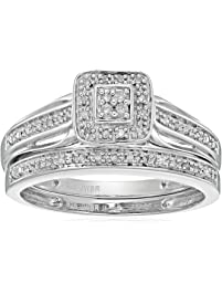 Sterling Silver Diamond Bridal Ring (1/2 cttw, J-K Color, I2 Clarity), Size 6