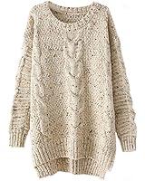 Memorose Womens Crochet Knitted Long Sleeve Loose Sweater Outwear Coat Pullover