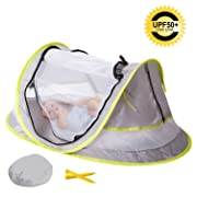 MinGz Large Baby Travel Tent, Portable Baby Travel Bed UPF 50+ Sun Travel Cribs Pop Up Folding Beach Tent Mosquito Net and 2 Pegs Infant Beach Gear UV Protection