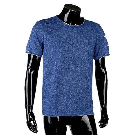 df6adb2e97bc Herren Shirts,Frashing Männer Mode Runde Kragen Loch Tees Shirt Kurzarm T  Shirt Bluse Herren T-Shirt Basic Regular Destroyed Zerrissen Meliert   Amazon.de  ...