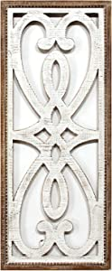 Stratton Home Décor Stratton Home Decor Heart and Fleur Panel Wall Décor, White, Natural Wood