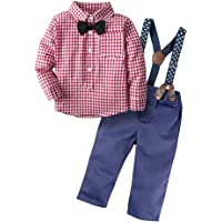 Angelchild Baby Boys Gentleman Suspenders Plaid Shirt Pants Clothing Set with Bowtie