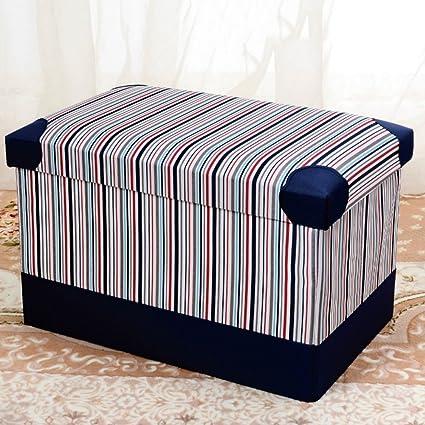 Amazon.com: RKY Leather Lattice Stripe Storage Stool Shoe ...