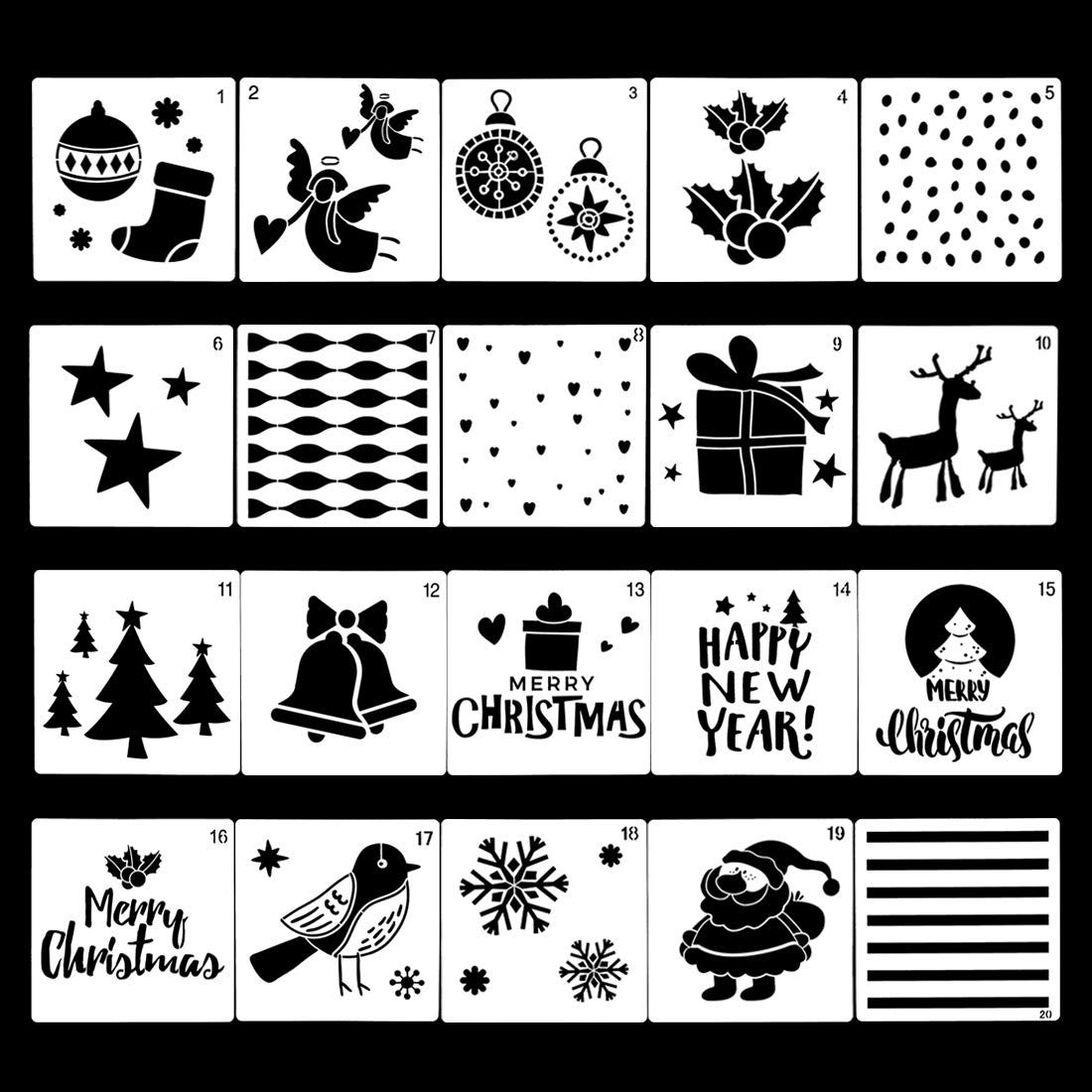 Finelnno 20 PCS Christmas Painting Stencils Craft Stencils for Painting on Wood Reusable Template Plastic Christmas Decor Indoor and Outdoor (20 PCS -A) by Finelnno