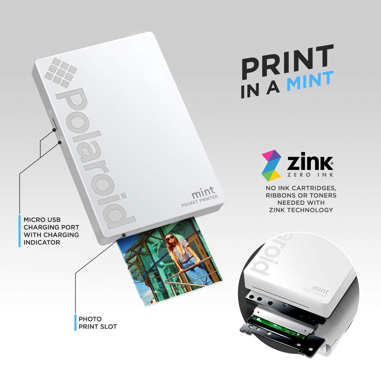 Polaroid Mint Impresora de bolsillo con Tecnología Zink Zero Ink papel adhesivo 5 x 7.6 cm - Bluetooth para Android y iOS (Blanco)