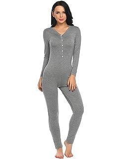 15d7c32b9e Ekouaer Women Onepiece Jumpsuit Long Sleeve V-Neck Thermal Underwear Union  Suits Jumpsuit S-. graphic sleep dress