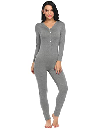 15e6d88f02c2 Ekouaer Women Onepiece Jumpsuit Long Sleeve V-Neck Thermal Underwear ...