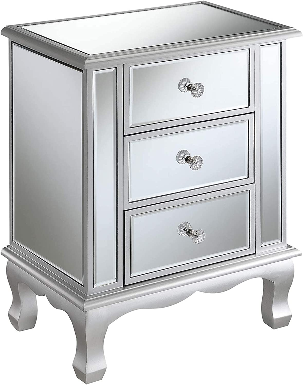 Convenience Concepts Gold Coast Vineyard 3 Drawer Mirrored End Table, Silver / Mirror