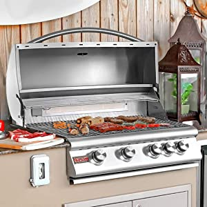 "32"" 4-Burner Built-In Gas Grill with Rear Infrared Burner Gas"