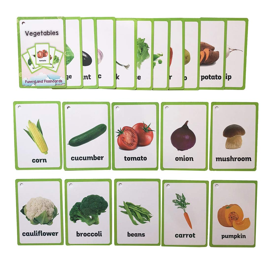 ABC Flash Cards 20pcs//Set Vegetable Englishword Card Montessori Early Educational Toys for Children Game Pocket Card Kids Flash Cards