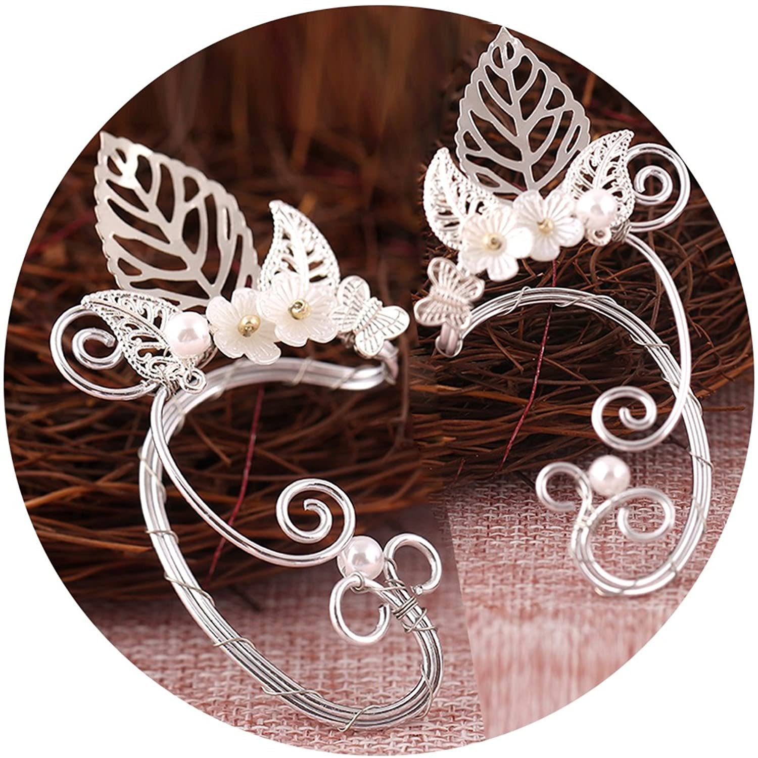 Elf Ear Cuffs, Aifeer 1 Pair Pearl Beads Filigree Fairy Elven Ear Cuffs, Cosplay Fantasy Costume Ears Cuffs