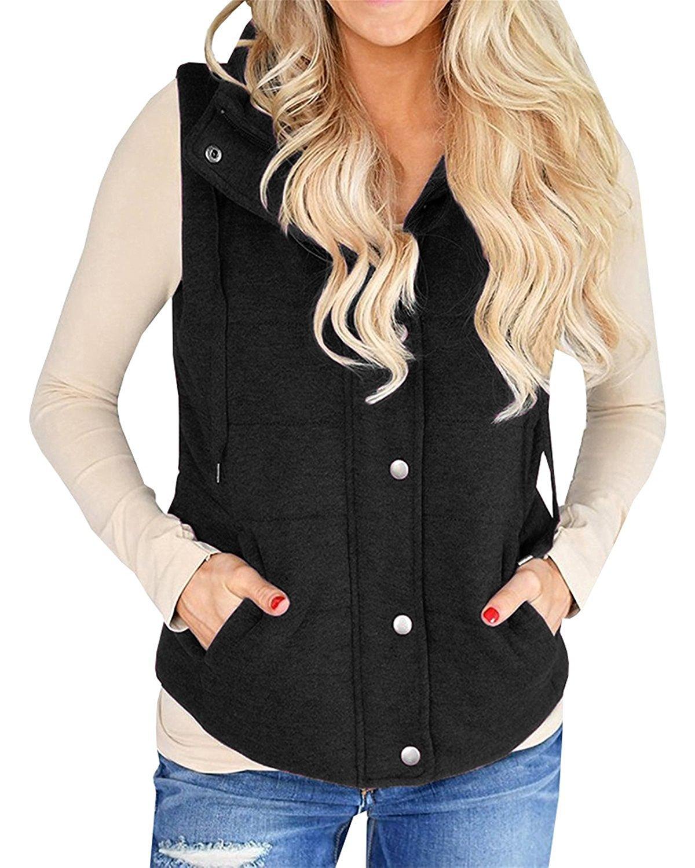 Imily Bela Women's Chunky Corduroy Sleeveless Jacket Quilted Padding Zip Up Vest Coat (Small, Black) by Imily Bela