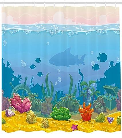 Lunarable Aquarium Shower Curtain Rich Under The Sea Landscape Fish Silhouettes Colorful Exotic Plants And