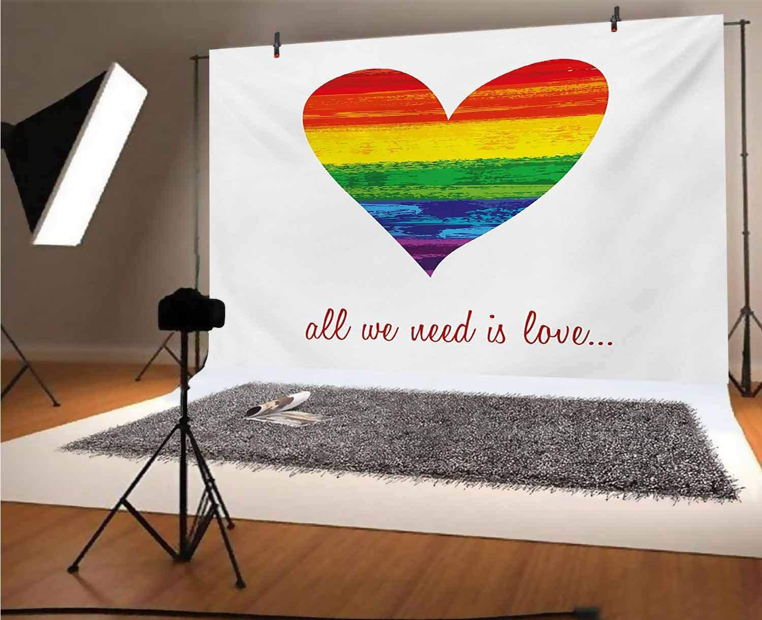 Pride 12x10 FT Vinyl Photography Background Backdrops,All We Need Is Love Quote with Heart Symbol in the Gay Parade Colors Valentines Background for Graduation Prom Dance Decor Photo Booth Studio Prop