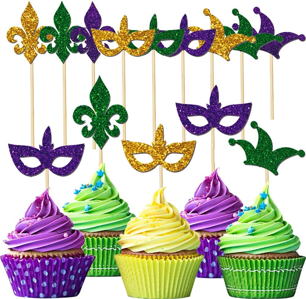 36 Pieces Mardi Gras Glitter Cupcake Toppers Party Supplies Decorations - Masquerade Masks Face Covering Cupcake Toppers Cake Picks for Mardi Gras Party Birthday Party Decorations