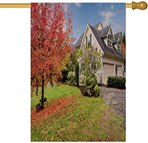 Bisead Decorations for Home Garden Flag 28X40 Northwest Horse Ranch White House Fall Changing Leaves Fence Outdoor Flags Yard Decor,Garden Yard Flag