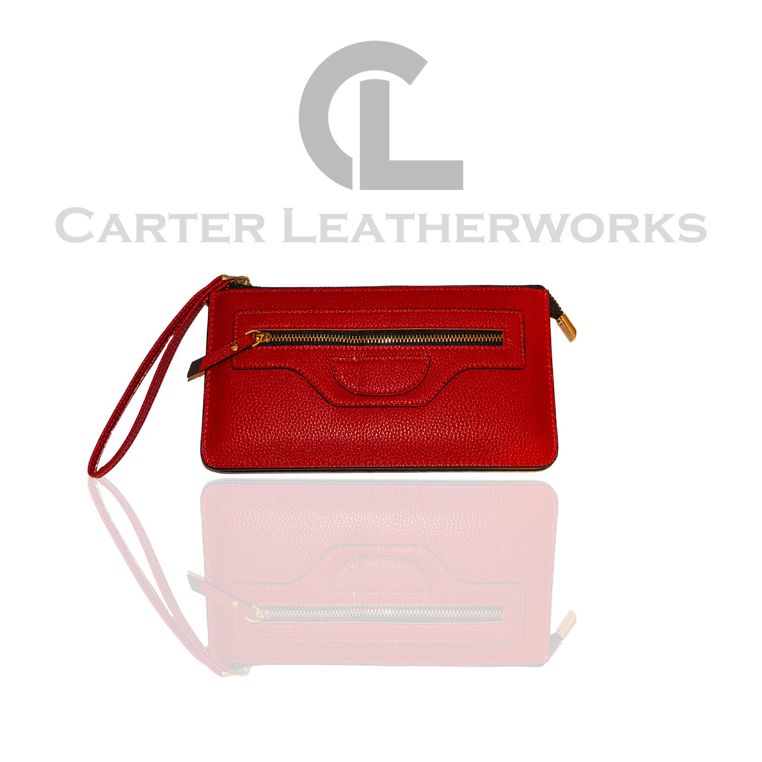Carter Leatherworks Rodeo Womens PU Vegan Leather Wristlet Wallet Clutch Purse Fits Any Smartphone (Red)