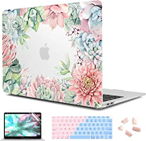CiSoo MacBook Air 13 Inch Case 2020 2019 2018 Release A1932 A2179, Plastic Matte Clear Hard Shell Case Frosted Cover with Keyboard Cover&Screen Protector for New Air 13.3'' Touch ID, Succulent Plants