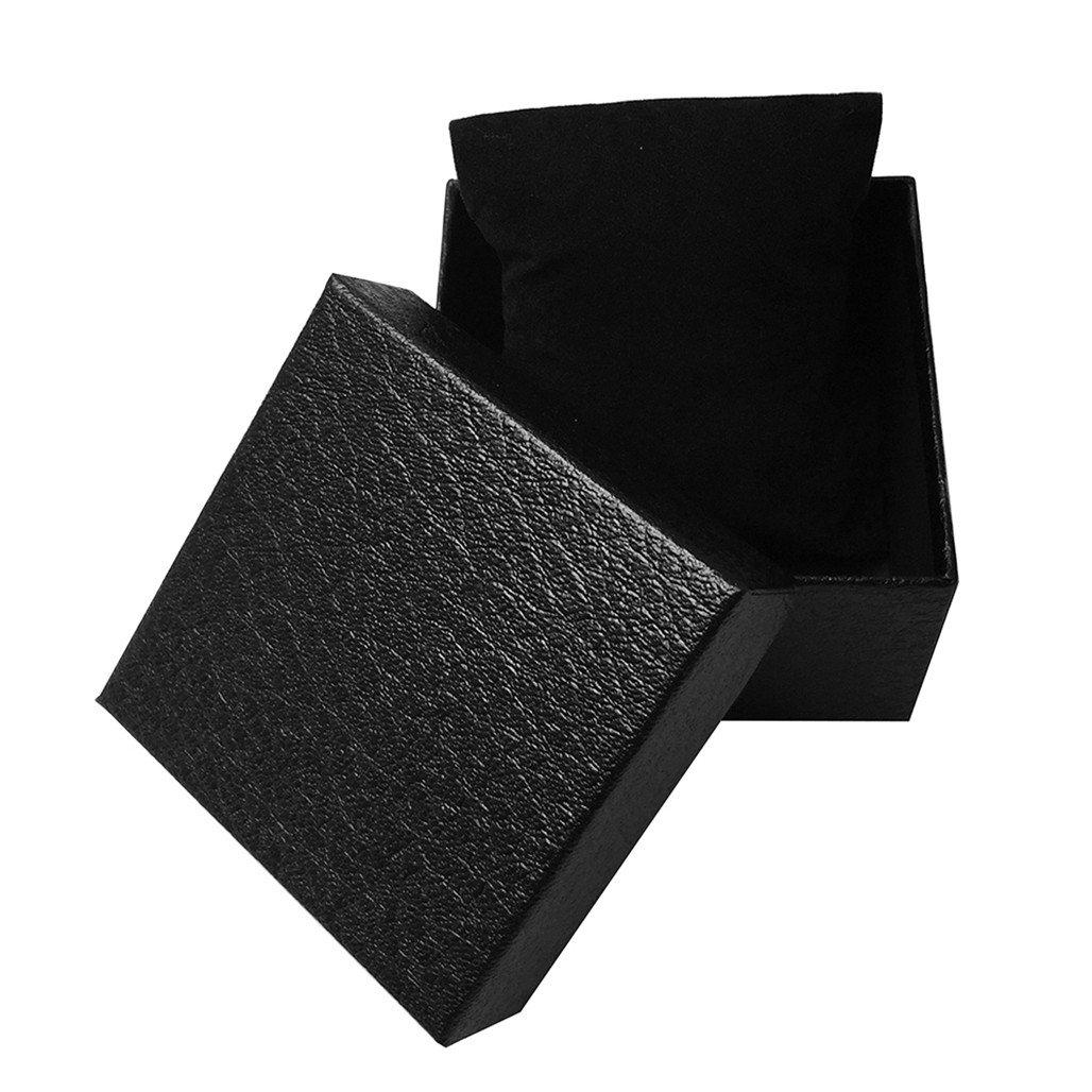 bjduck99 Fauxレザージュエリー手首腕時計ホルダーストレージボックスオーガナイザーケースギフト 8.5cm x 8.5cm x 5.3cm ブラック 104B7J0DFC4P131117R B078H8GQ3D ブラック ブラック