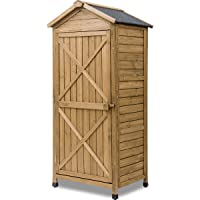 Leisure Zone Outdoor Wooden Storage Sheds Fir Wood Lockers with Workstation (Design 1)