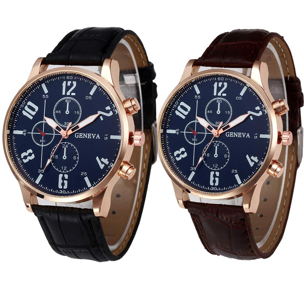 Luxury Watches for Men DYTA Business Watches with Silver Stainless Steel Case Leather Strap Under 10 Analog Quartz Wrist Simple Watches Black Face Relojes ...