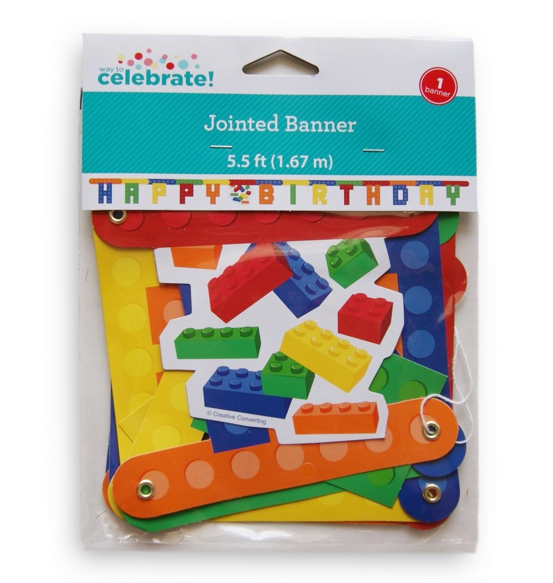 Table Cover and Banner Retail Inc Way to Celebrate Toy Brick Themed Party Supply Set