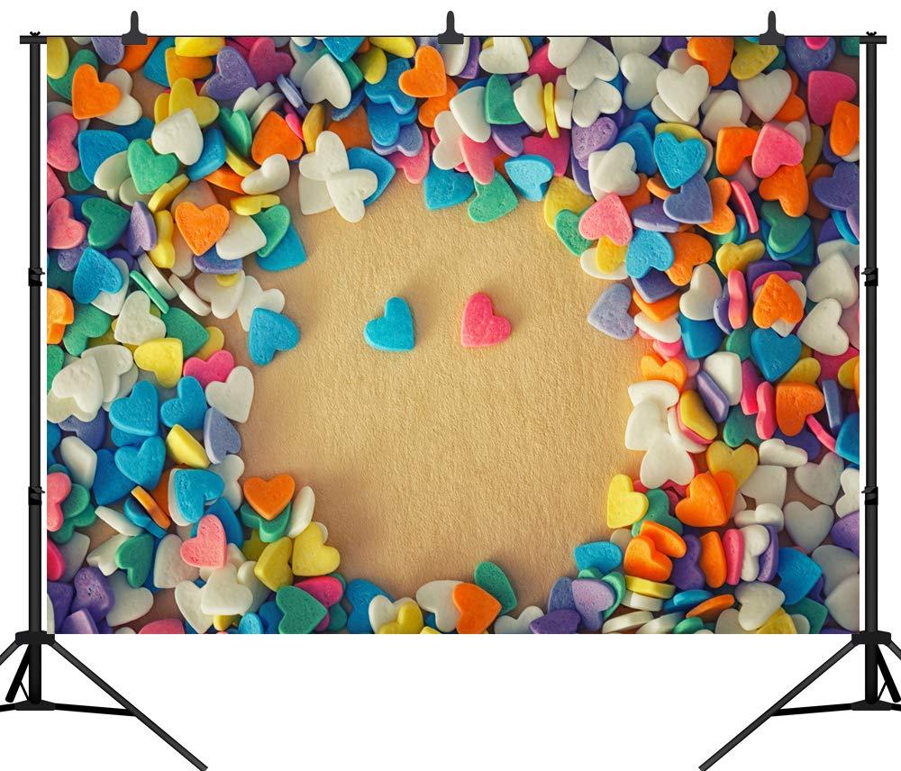 DePhoto 7X5FT(210X150CM) バレンタインデー カラフル ハート型 キャンディ シームレス ビニール 写真 背景 写真 スタジオ小道具 PGT322A 7X5FT(210X150CM)  B07L2VZ5Q1
