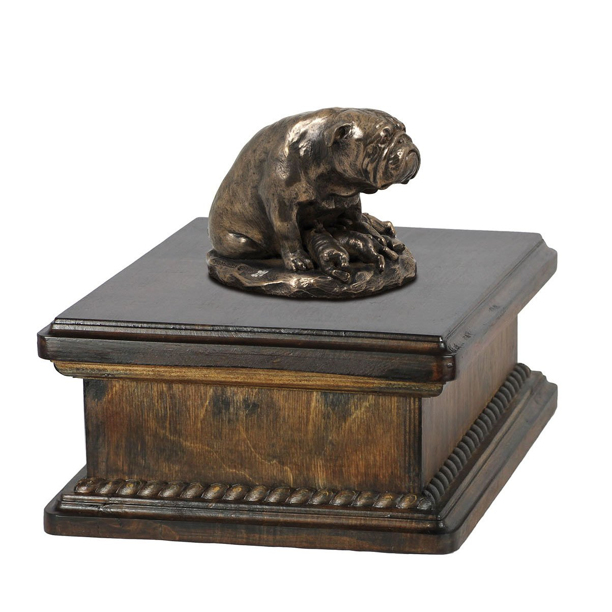 Bulldog (mama), memorial, urn for dog's ashes, with dog statue, exclusive, ArtDog
