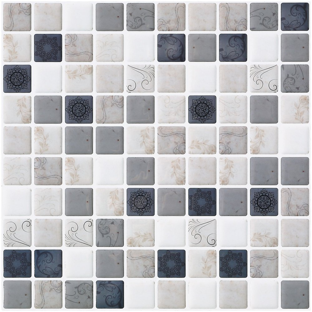 Ecoart Wall Tile Stickers Peel and Stick Self-Adhesive Wall Tile with Mosaic Triangle Effect for Kitcheh Bathroom Backsplash Black Grey White 10
