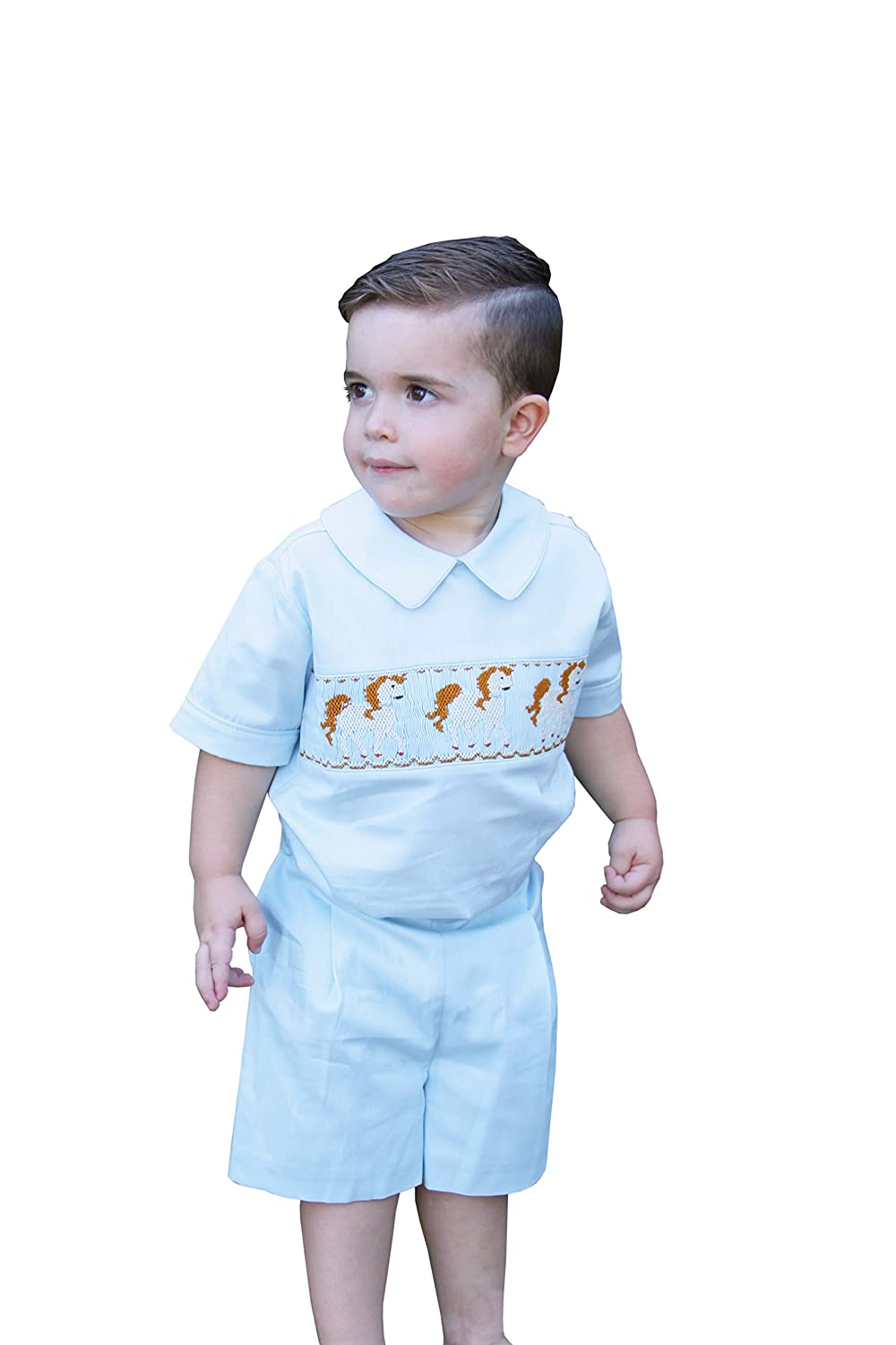 1940s Children's Clothing: Girls, Boys, Baby, Toddler Carouselwear Boys Smocked Shirt and Shorts Set Suit with Horses $49.00 AT vintagedancer.com