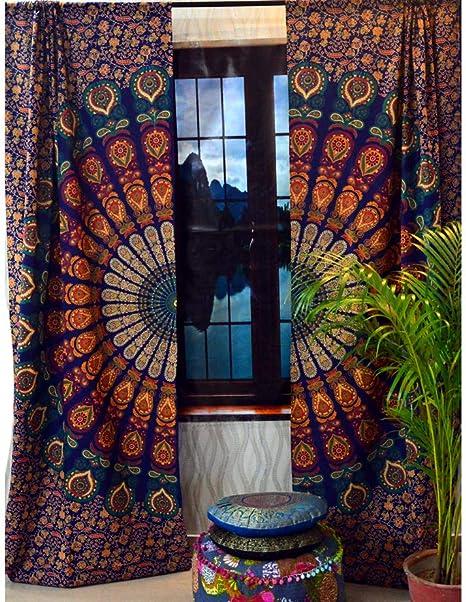 Indian Boho Mandala Window Decor  Hippie Tapestry Treatment Tapestry Curtain Bohemian Window Curtain Set Drapes Window 2 Panel Curtain Set